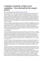 Texte Alternatif n°2-  Combattre l'austérité, en finir avec le capitalisme