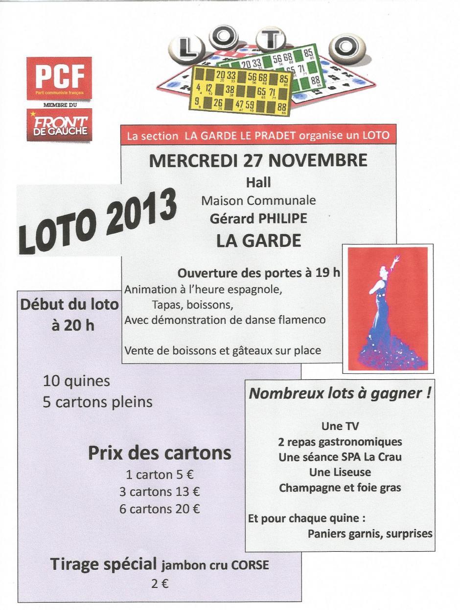 LE LOTO 2013 : Mercredi 27 novembre à partir de 19h Hall  Gérard Philipe