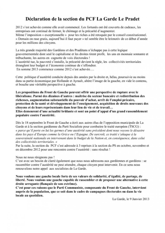 Mercredi 9 janvier 2013 : Déclaration de la section du PCF La Garde Le Pradet