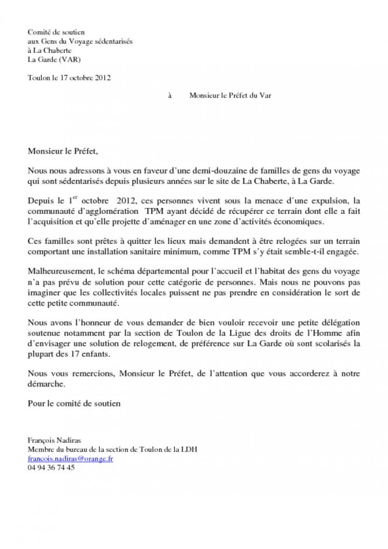Lettre A Monsieur Le Prefet Du Var Pcf Fr