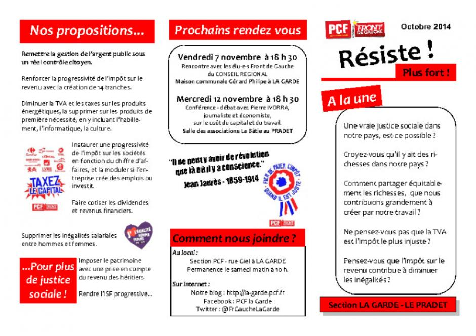 Resiste plus fort : octobre 2014