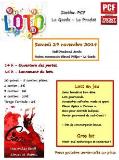 PCF La Garde Le Pradet : Un loto fraternel et  solidaire  samedi 29 novembre