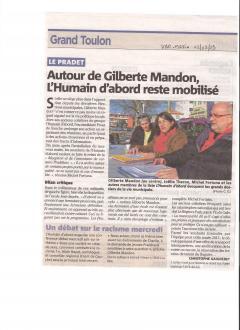 Le Pradet: Autour de Gilberte Mandon, l'Humain d'Abord reste mobilisé ( Var Matin du 02/02)